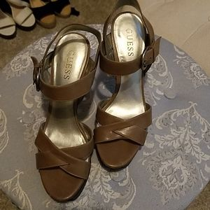 Guess brown strappy heels